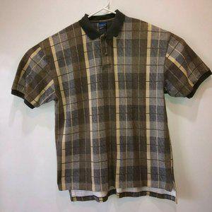 Pendleton Mens Large Beige Plaid Short Sleeve Polo